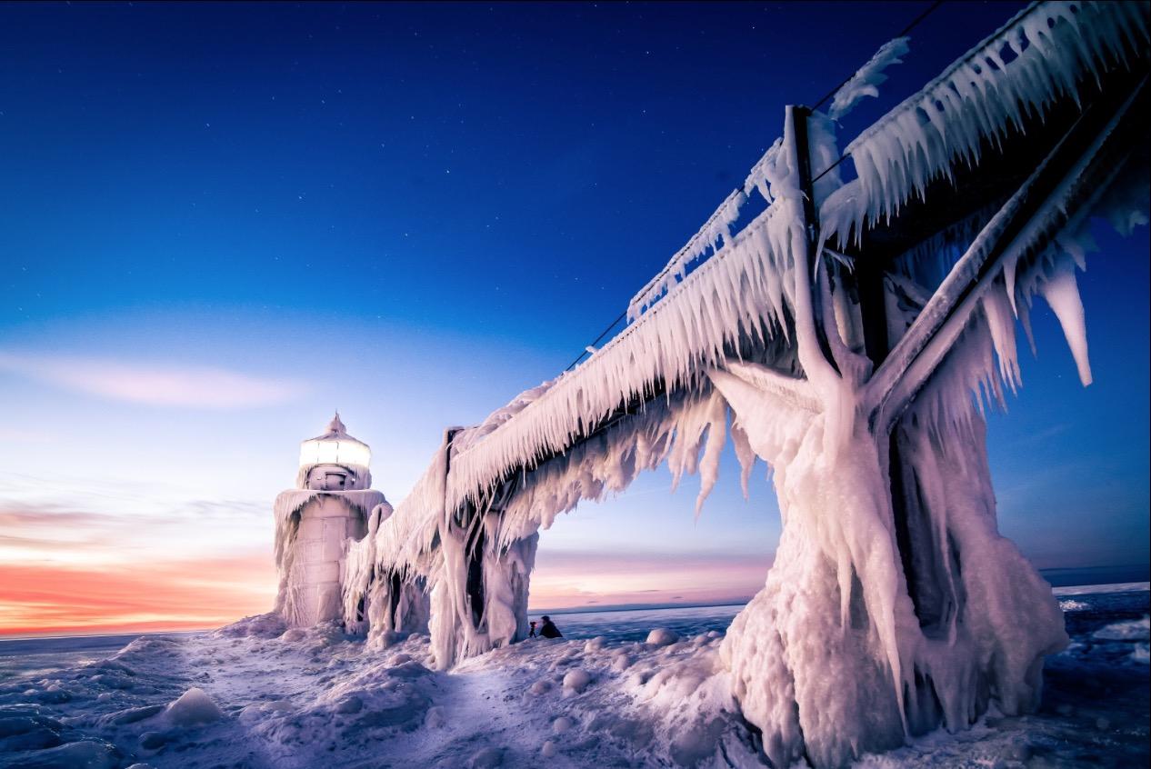 Leuchtturm Michigan Eis
