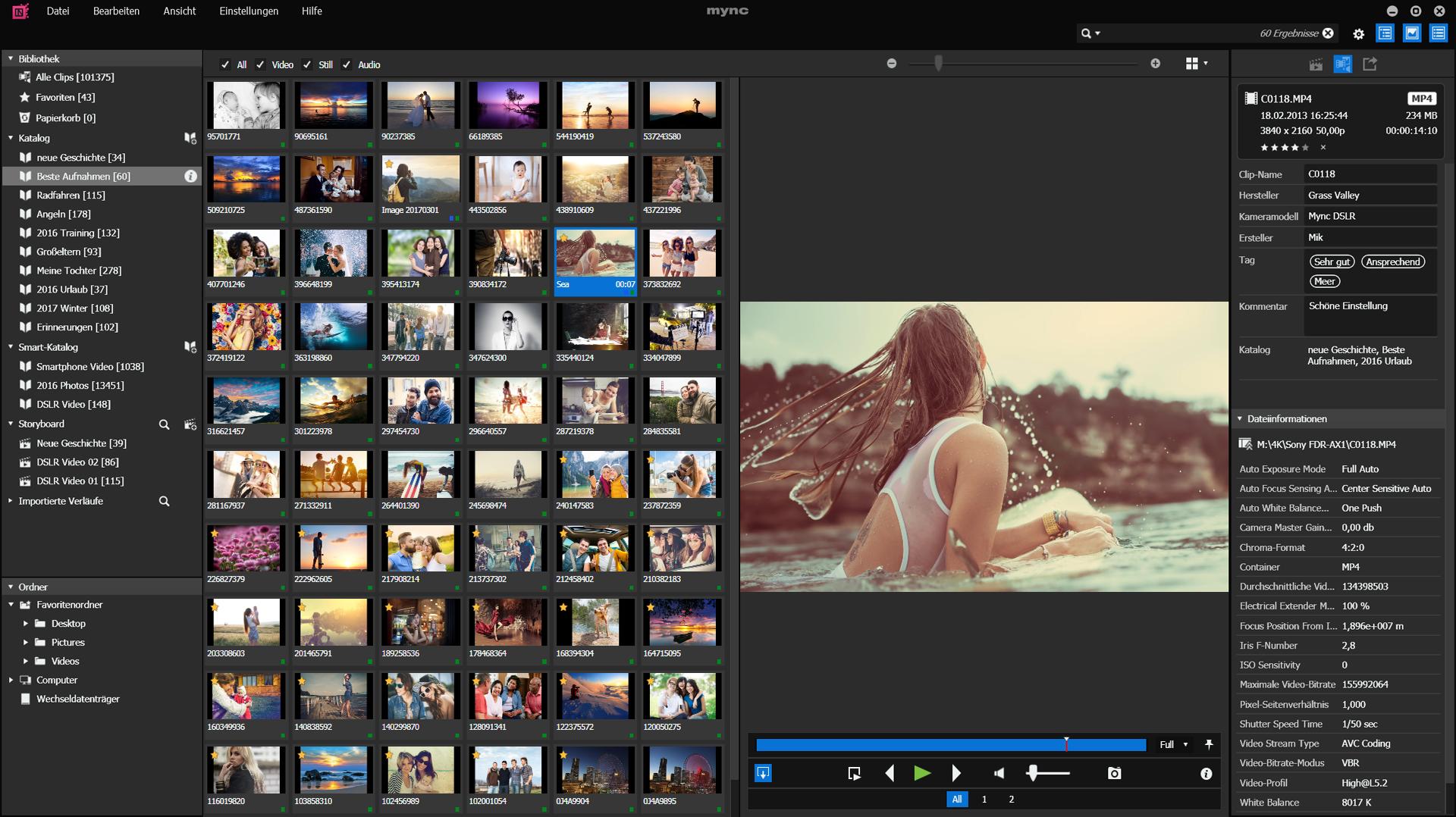 Fotos und Videos mit mync verwalten