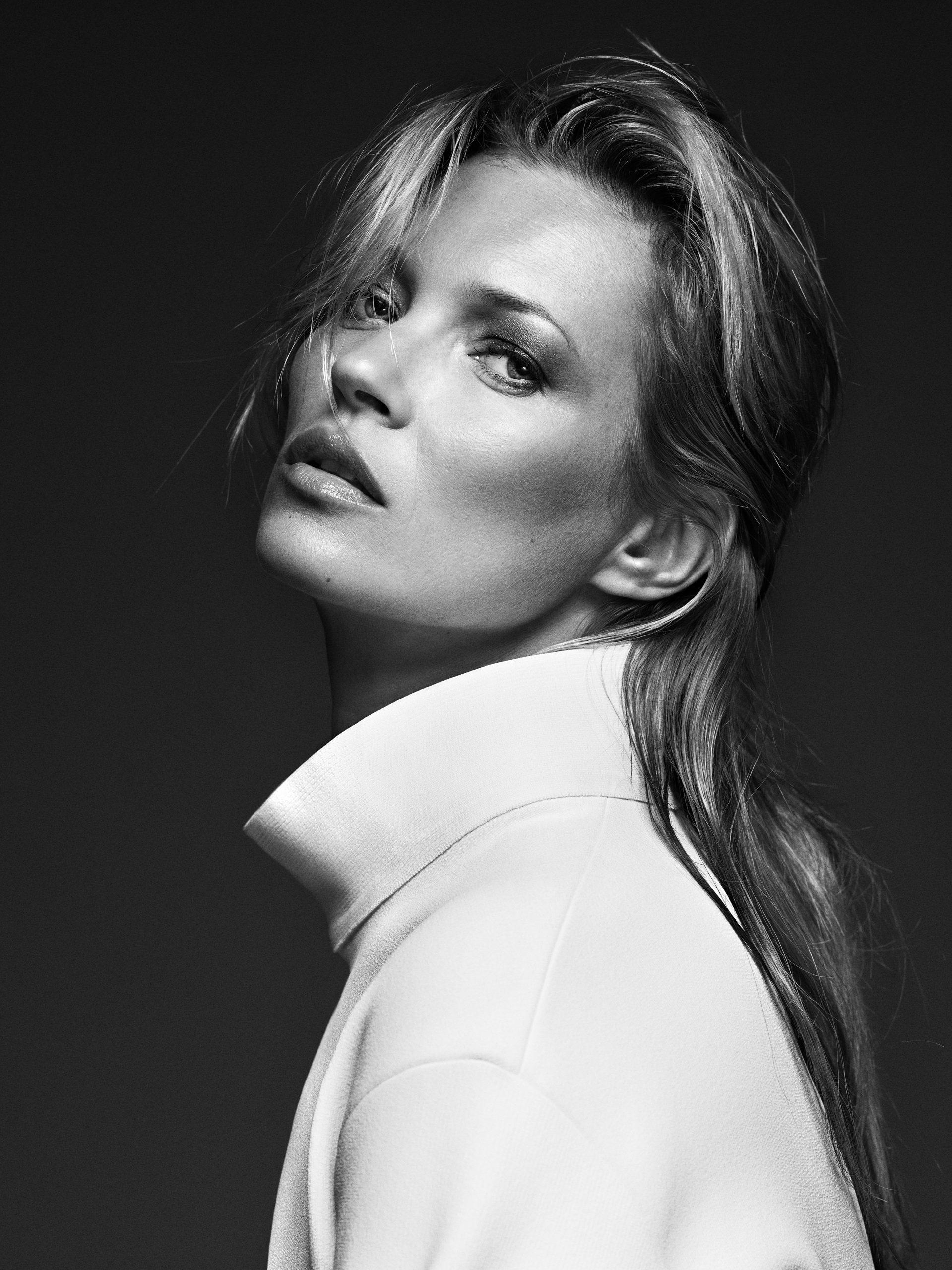 Kate Moss, White Coat, London 2013 © Bryan Adams