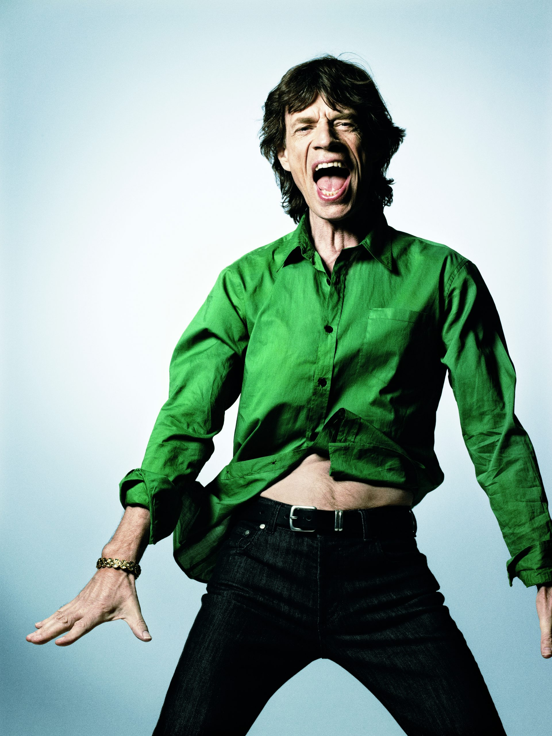 Sir Mick Jagger, Green Shirt, New York 2008 © Bryan Adams