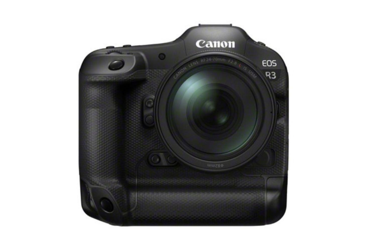Canon EOS R3 von vorne vor weißem Hintergrund