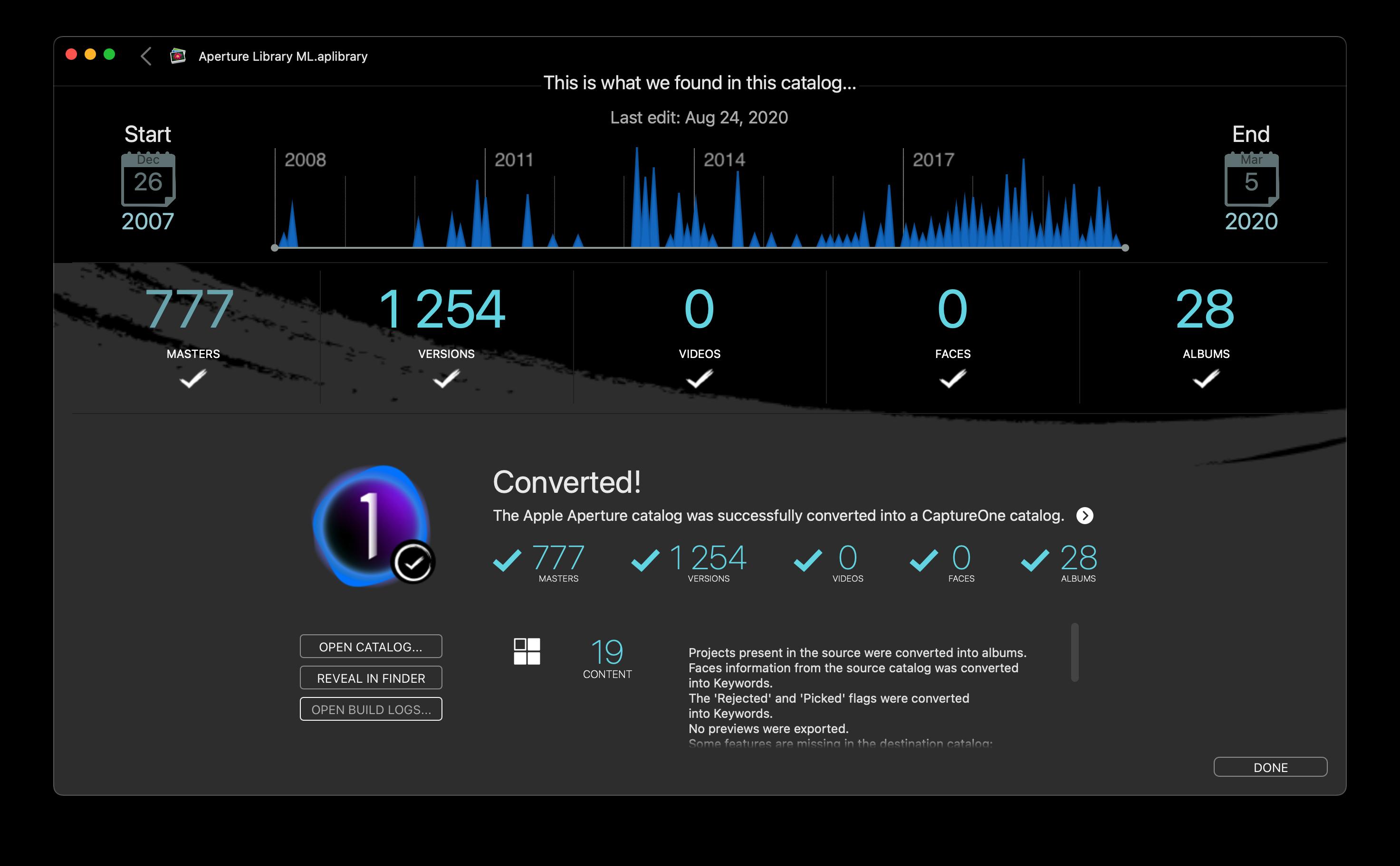 Bildschirmfoto Statusbericht Avalanche for Capture One 1.0