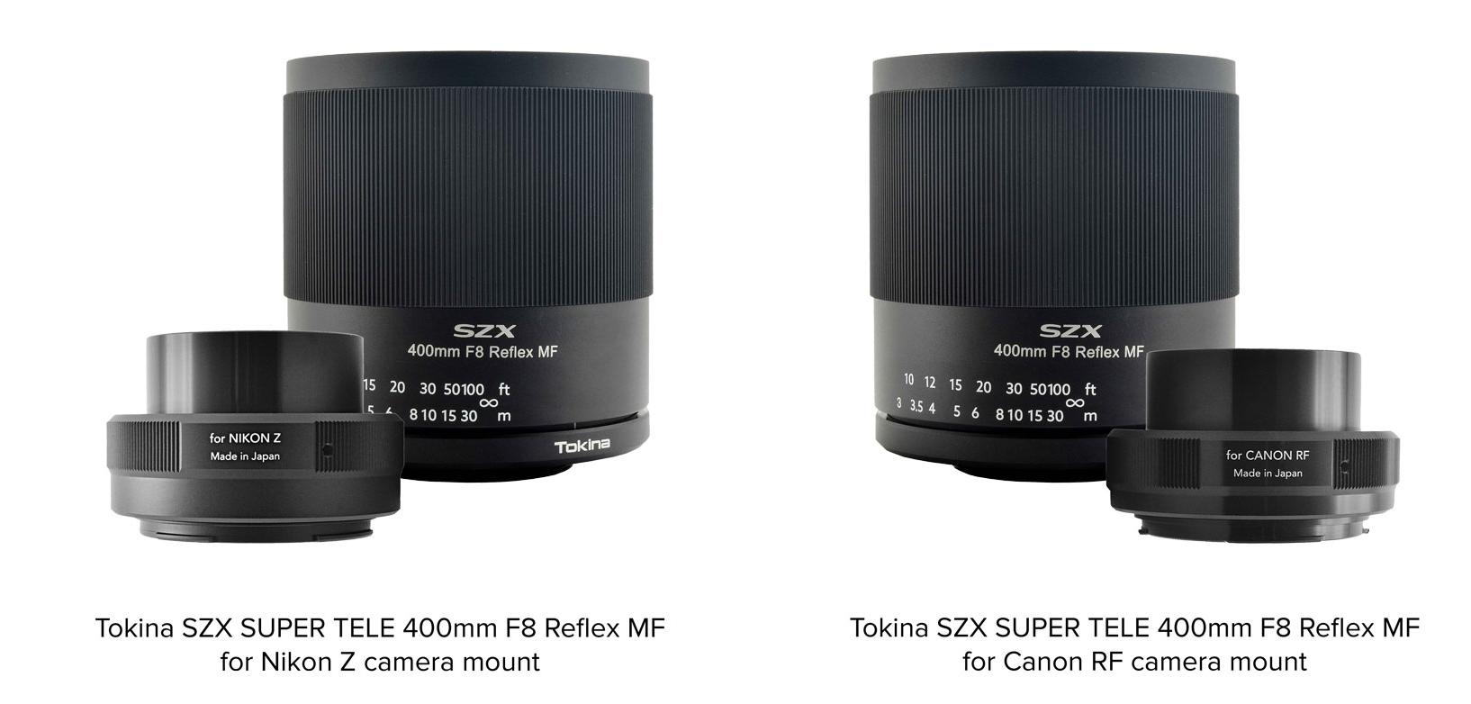 Tokina Teleobjektiv SZX SUPER TELE 400mm F8 Reflex MF für Nikon Z und Canon RF-Mount vor weißem Hintergrund