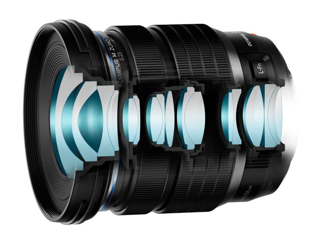 Schnittzeichnung der Linsenanordnung des Olympus M.Zuiko Digital ED 8-25mm F4.0 PRO